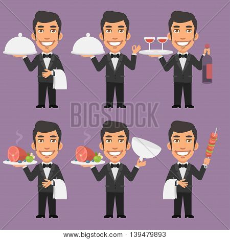 Vector Illustration, Waiter Holds Wine Towel and Tray Meat, Format EPS 8