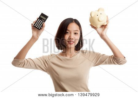 Asian Business Woman With Calculator And Piggy Bank