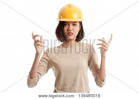 Asian Engineer Woman Is Angry , Upset
