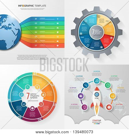 Four infographic templates with 7 steps options parts processes. Business concept.