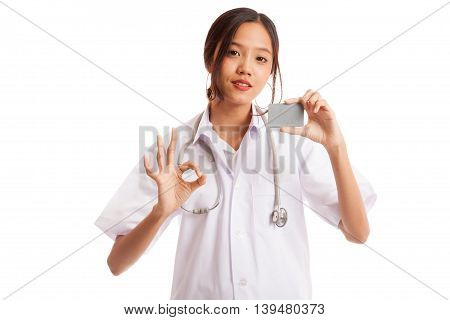 Asian Young Female Doctor Show Ok Sign With Blank Card