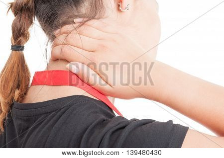 Closeup Of Female Employee With Cervical Problem