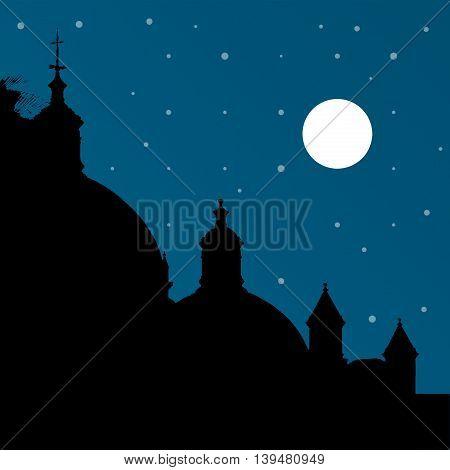 Silhouette night scene cityscape graphic illustration in blue and black colors.