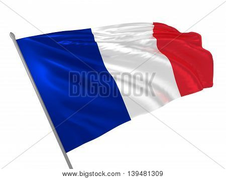 3d illustration of France flag waving in the wind