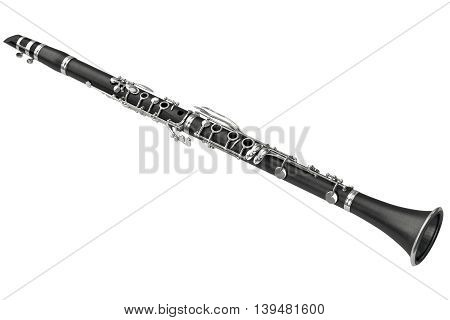 Clarinet classical woodwind musical instrument. 3D graphic