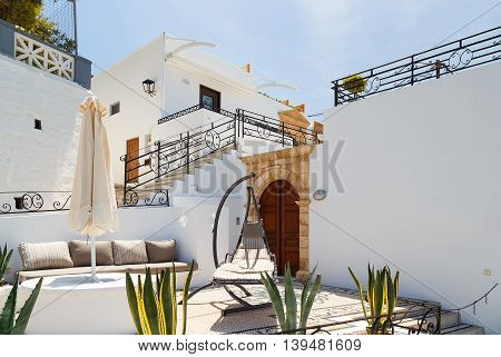 mall greek street in Lindos, Rhodes, Greece