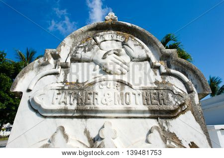 KEY WEST FLORIDA USA - MAY 02 2016: Gravestone at the Key West cemetery. It is a 19-acres cemetery and about 100.000 people are buried here.