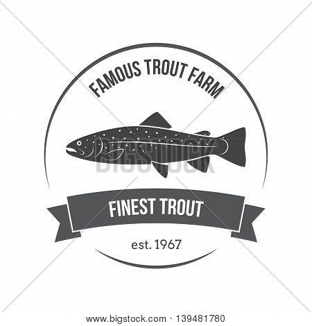 Vector trout emblem label. Template for clubs farms stores markets food packaging.