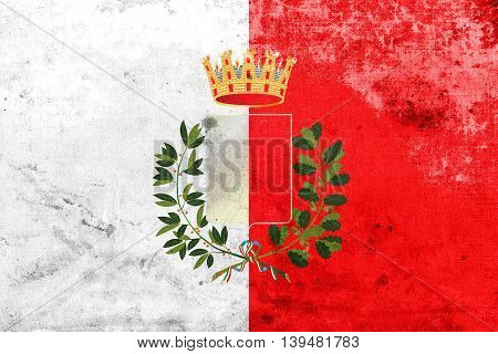 Flag Of Bari With Coat Of Arms, Italy, With A Vintage And Old Lo
