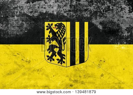 Flag Of Dresden, Germany, With A Vintage And Old Look
