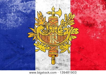 Flag Of France With National Emblem, With A Vintage And Old Look