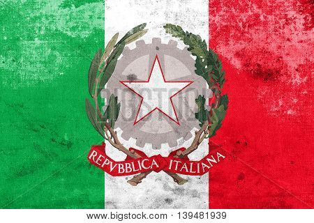 Flag Of Italy With National Emblem, With A Vintage And Old Look