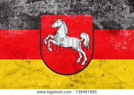 Flag Of Lower Saxony, Germany, With A Vintage And Old Look