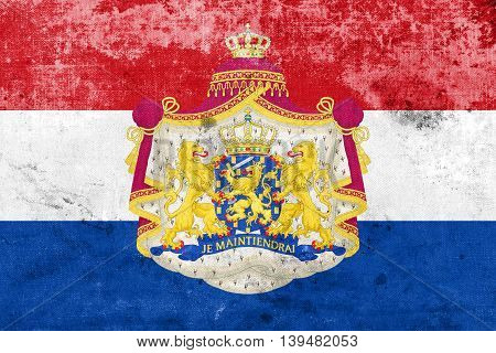 Flag Of Netherlands With Coat Of Arms, With A Vintage And Old Lo