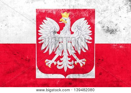 Flag Of Poland With Coat Of Arms, With A Vintage And Old Look