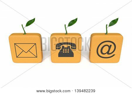 Contact us: orange tiles on a white background 3d illustration