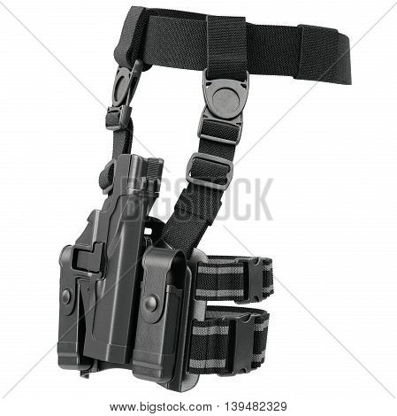 Holster army black plastic for handgun on belt. 3D graphic