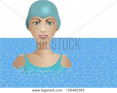 Young woman in swimming cap on his head in the pool