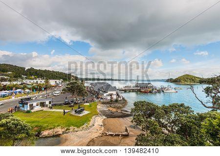 Paihia New Zealand - November 21 2014: View over Paihia Bay of Islands North Island New Zealand Pacific.