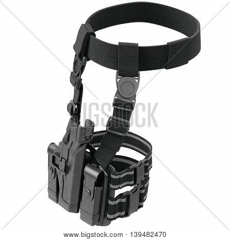 Holster army black for gun on belt with fastening. 3D graphic