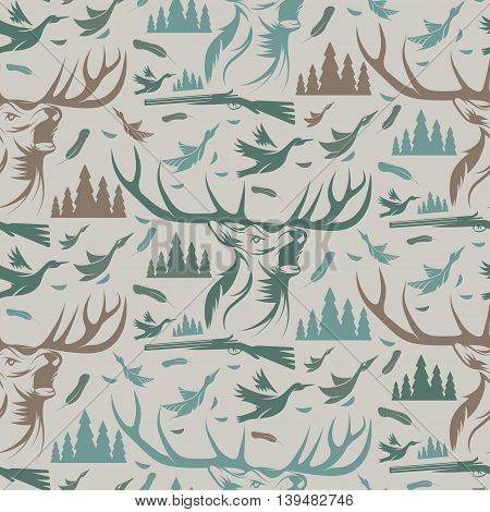 Seamless Pattern For Hunting Theme. With Deer, Duck, Gun, Bird And Tree. Vector Illustration