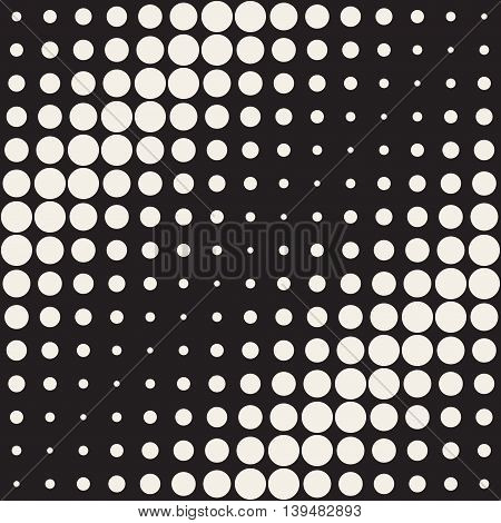 Vector Seamless Black and beige Circles Diagonal Gradient Halftone Pattern. Abstract Geometric Background Design