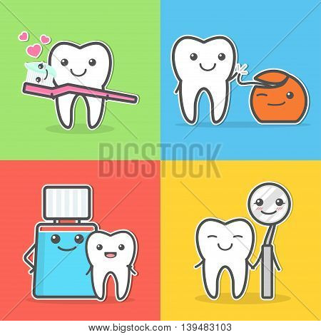 Cartoon teeth care and hygiene. Oral hygiene. How to care for your teeth concept. Tooth brushing, flossing, mouth washing and visit dentist.