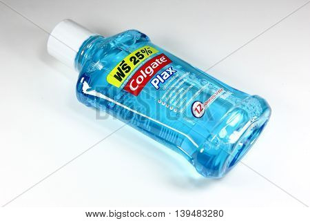 CHIANGMAI THAILAND -JULY 22 2016: Product shot of Colgate Plax Mouthwash. In thailand sale and made from Colgate Palmolive Thailand.