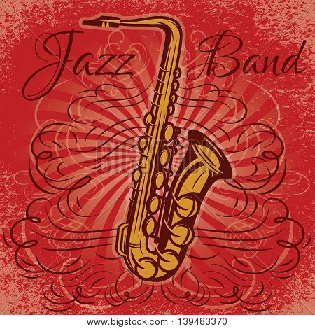 stylish retro promotional poster for the jazz concert with saxophone