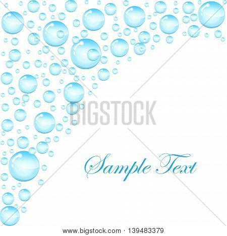 Soap bubbles background with space for text. Template for the text with soap bubbles water droplets. vector illustration