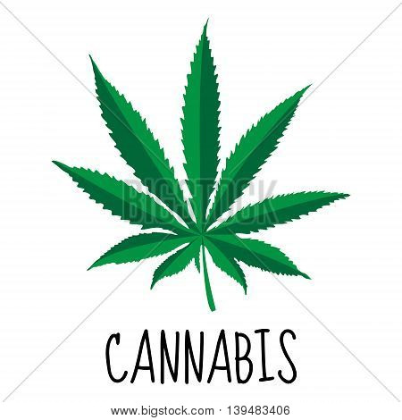 Cannabis leaf. Marijuana herb. Drug plant. Vector illustration
