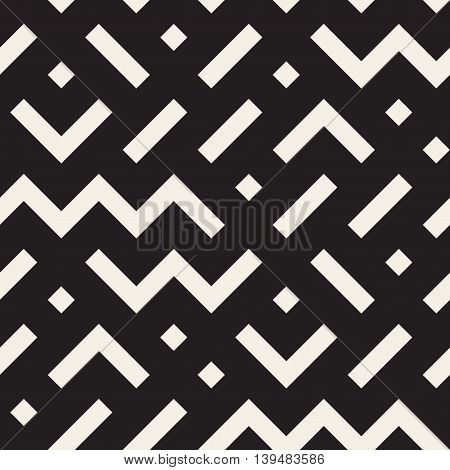 Vector Seamless Black and White Geometric Shapes Jumble Pattern. Abstract Geometric Background Design
