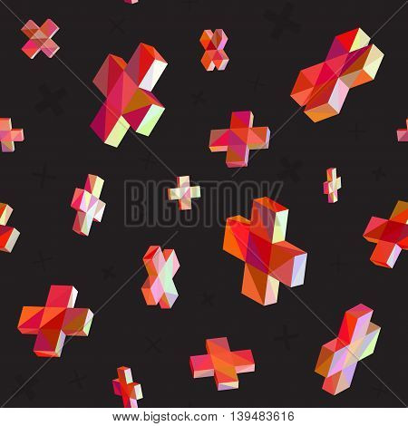 Vector Seamless Multicolor Cross Shape Dimensional Jumble Pattern. Abstract Geometric Print Design