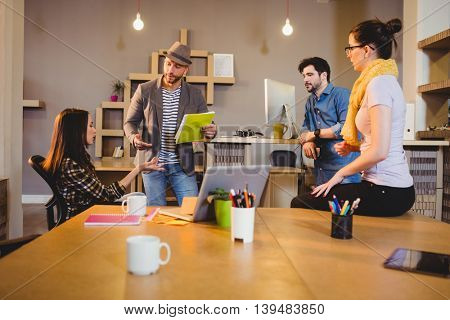 Team of graphic designers having a meeting in office