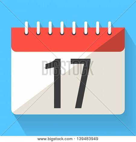 Agenda paper calendar, colorful vector flat illustration