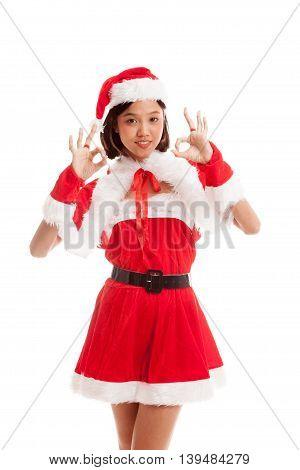 Asian Christmas Santa Claus Girl Show Ok Sign