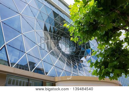 Frankfurt, Germany - June 15, 2016: Facade of the modern shopping mall MyZeil in the city off Frankfurt am Main.
