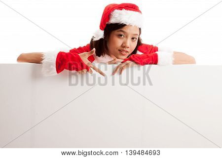 Asian Christmas Santa Claus Girl  Point Down To Blank Sign