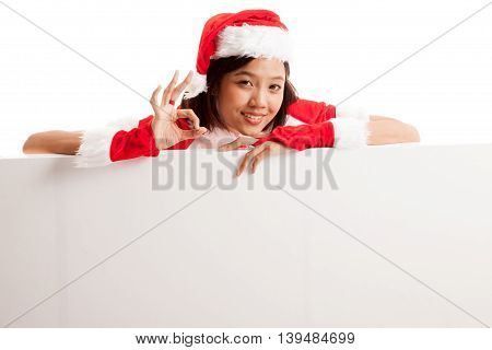 Asian Christmas Santa Claus Girl Show Ok With Blank Sign