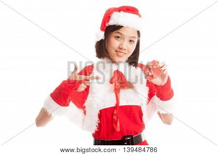 Asian Christmas Santa Claus Girl Point To  Gift Box