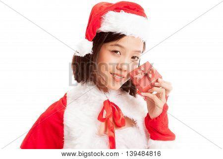 Asian Christmas Santa Claus Girl And  Gift Box