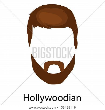 Set of men cartoon hairstyles with beards and mustache.