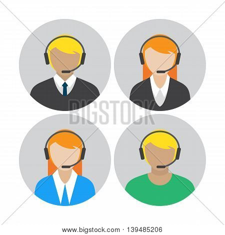 Set of icons with the callcenter agents talking through headset, colorful flat vector illustration