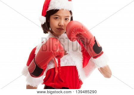 Asian Christmas Santa Claus Girl  With Boxing Glove