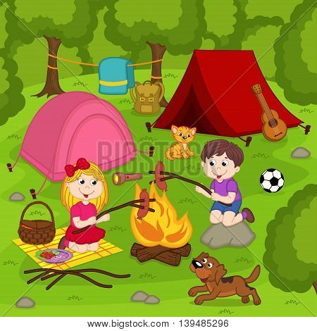 children fry sausages on the bonfire in the summer camp - vector illustration, eps