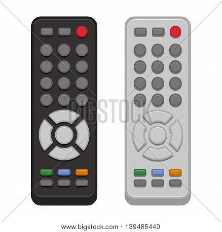 TV Remote Control Set on White Background. Vector illustration