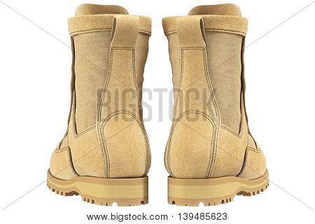 Military boots beige army gear, back view. 3D graphic