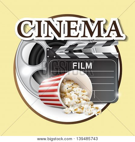Cinema Poster Design Template isolated on a yellow background