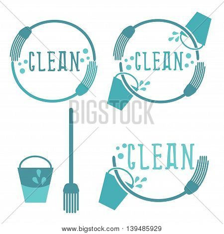 Set of cleaning labels with mop. Vector illustration
