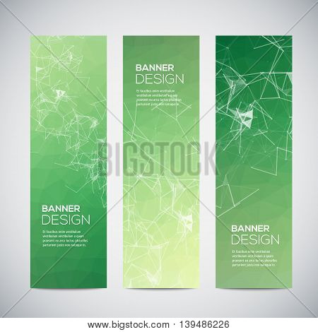 Banners with abstract colorful triangulated geometric background, vector illustration
